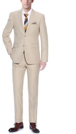 Verno Allegri Big Men's Tan Classic Fit Italian Styled Two Piece Suit