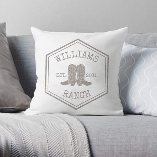 4 Wooden Shoes Personalized Ranch Throw Pillow