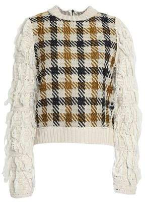 Sea Frayed Jacquard-Knit Sweater