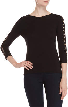 Carmen Marc Valvo Carmen Three-Quarter Cage Sleeve Tee