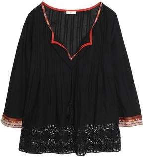 Joie (ジョア) - Joie Crochet-Trimmed Embroidered Cotton-Voile Blouse