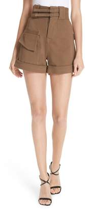 Self-Portrait Double Buckle Twill Shorts