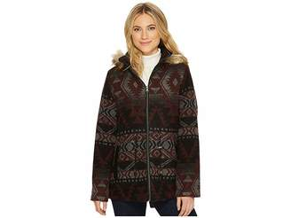 KC Collections Hooded Aztec Faux Wool Women's Coat