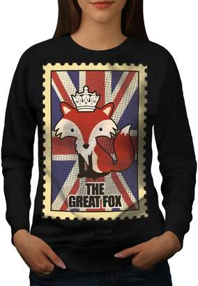The Great Wellcoda Fox Womens Sweatshirt, Royal Print Pullover Jumper M