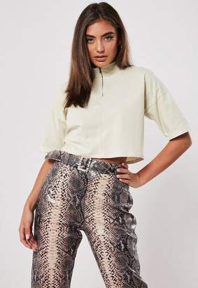 Missguided Sand Zip High Neck Boxy Crop Top