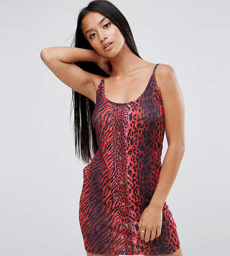 Asos Mini Dress With Popper Detail In Red Leopard