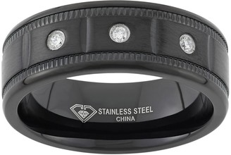 1/10 Carat T.W. Diamond Black Ion-Plated Stainless Steel Wedding Band - Men