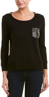 The Kooples Pocket Leather-Trim Wool Sweater
