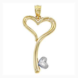 FINE JEWELRY 14K Two-Tone Gold Heart Key Charm Pendant