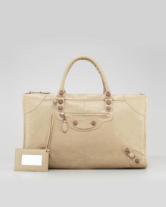 Balenciaga Giant 12 Rose Golden Work Bag, Latte