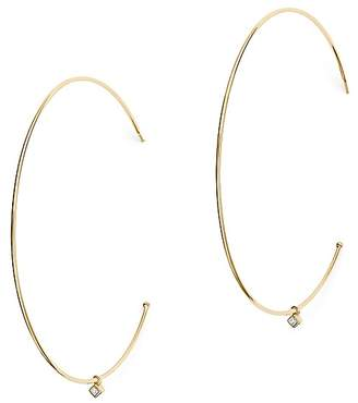 Chicco Zoë 14K Yellow Gold Large Hoop Earrings with Dangling Diamonds