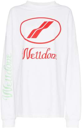 We11done logo print oversized long sleeved T-shirt