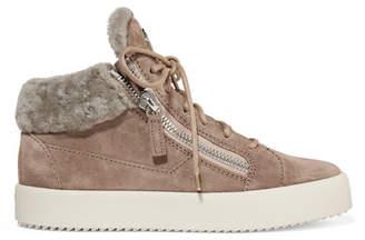 Giuseppe Zanotti Shearling-trimmed Suede Sneakers - Beige