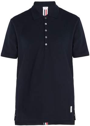 Thom Browne Stripe-trim cotton polo shirt