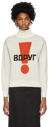 Gosha Rubchinskiy White Exclamation Point Graphic Turtleneck