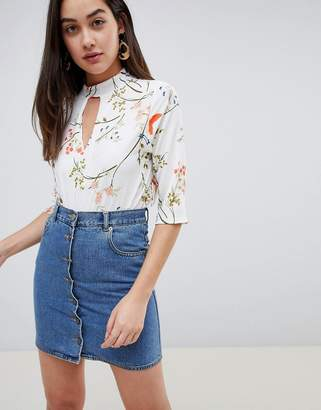 Girls On Film floral blouse with choker detail