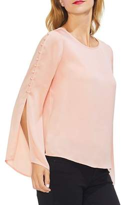 Vince Camuto Satin Button-Sleeve Blouse