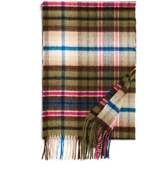 Johnstons of Elgin Green Vintage Check Cashmere Scarf