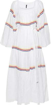 Lisa Marie Fernandez Belted Rick Rack-trimmed Linen Maxi Dress