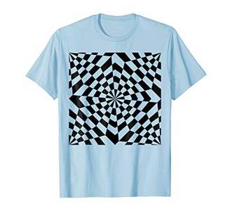 Psychedelic Optical Art Funky Checkerboard Flower Wave Shirt