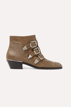 Chloé Susanna Studded Leather Ankle Boots - Brown