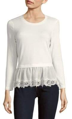 Rebecca Taylor Long Sleeve Lace Hem Top