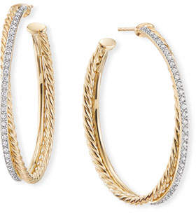 David Yurman DY Crossover Extra-Large Gold Hoop Earrings w/ Diamonds