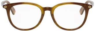 Gucci Tortoiseshell Oval Bee Glasses