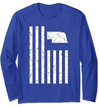 Nebraska Cracked American Flag Long Sleeve