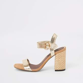 cb25555a3f6 River Island Gold two part block heel sandals