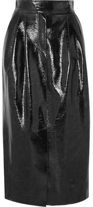 RŪH - Coated Wool-blend Midi Skirt - Black