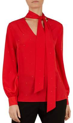 Ted Baker Sandye Sparkle Tie-Neck Blouse