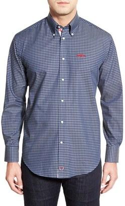 Men's Thomas Dean 'Ole Miss Rebels' Regular Fit Long Sleeve Gingham Sport Shirt $79.50 thestylecure.com