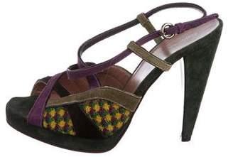 Miu Miu Suede Tweed-Accented Sandals