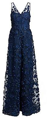 Teri Jon by Rickie Freeman Women's Floral Appliqué Gown