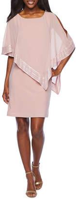 SL Fashions S. L. Fashions 3/4 Sleeve Cape Sheath Dress