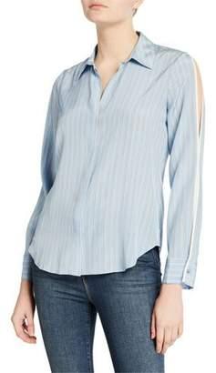 L'Agence Maggie Striped Split-Sleeve Blouse