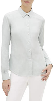 Lafayette 148 New York Montego Parkside Striped Button-Down Long-Sleeve Blouse