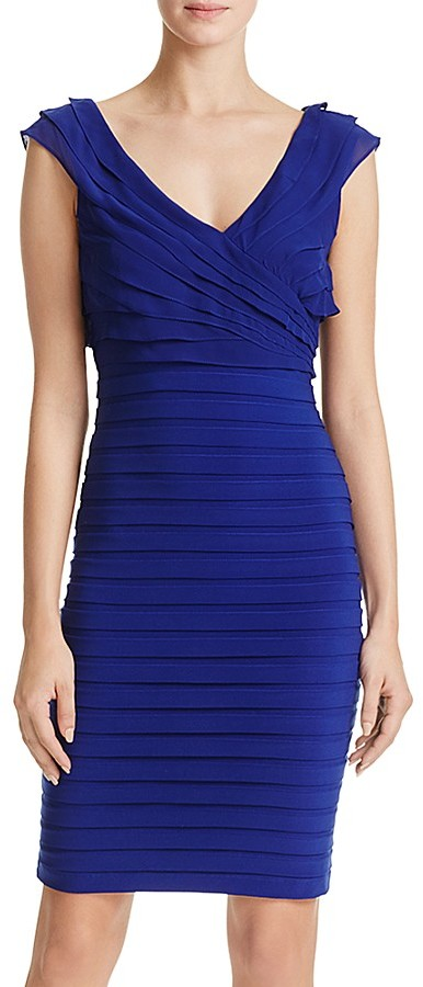 Adrianna Papell V-Neck Shutter Pleated Dress