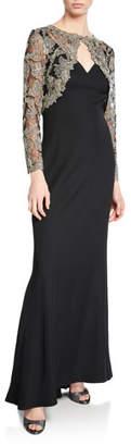Tadashi Shoji Lace & Crepe Illusion Long-Sleeve Gown