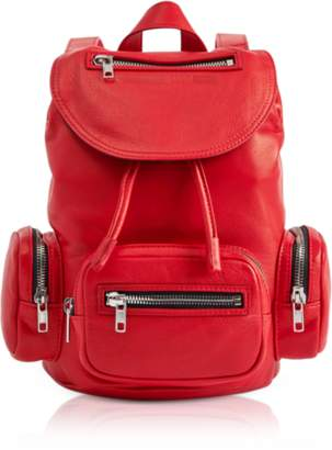 McQ Loveless Riot Red Leather Mini Drawstring Convertible Backpack