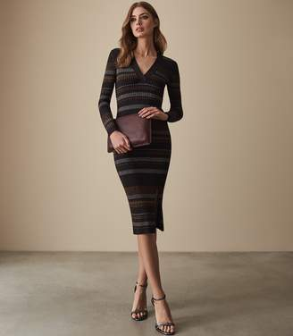 Reiss SASSY METALLIC KNITTED DRESS Bronze Metallic