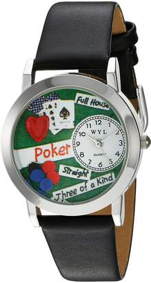 Whimsical Watches Women's S0430003 Poker Black Leather Watch