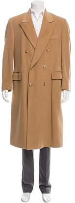 Barneys New York Barney's New York Double-Breasted Camel Overcoat