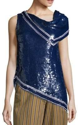 Monse One-Shoulder Sequin Blouse