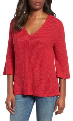 Caslon Hidden Snap V-Neck Sweater