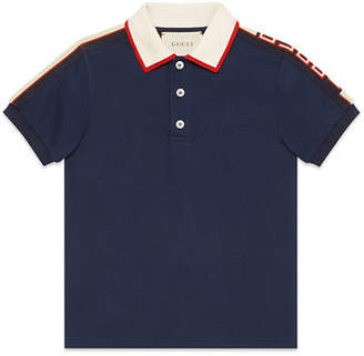 Gucci Stretch Cotton Piquet Polo w/ Logo Sleeves, Size 4-12