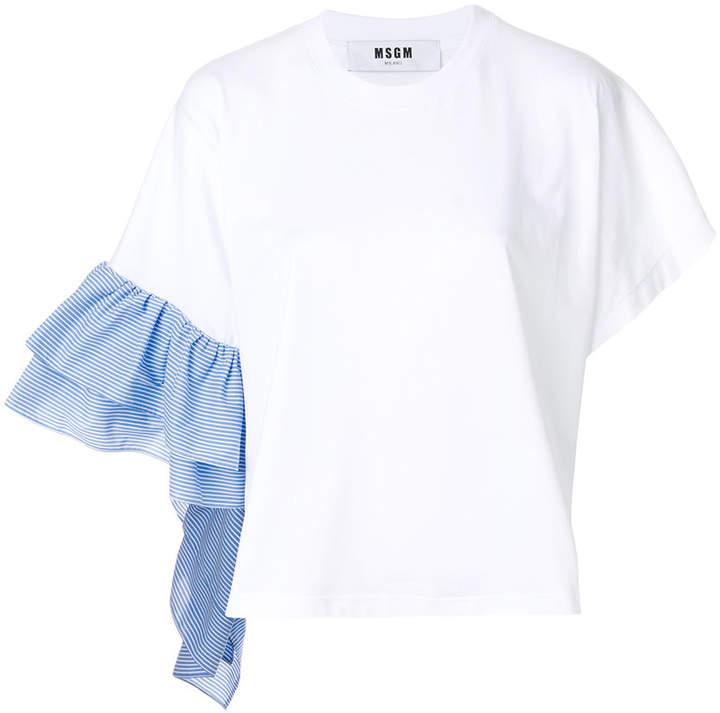 MSGM asymmetric ruffle sleeve T-shirt