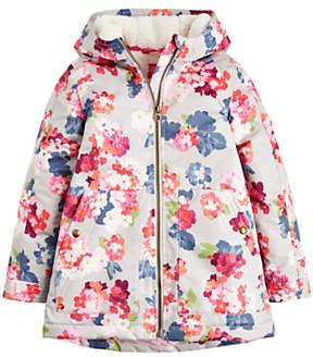 Joules Little Joule Girls' Raindrop Floral Coat, Grey