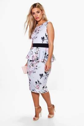 boohoo Plus Ruby Sleeveless Peplum Midi Dress $44 thestylecure.com